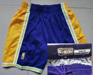 Men's Los Angeles Lakers #24 Kobe Bryant 1996-97 Purple Hardwood Classics Soul Swingman Throwback Shorts