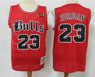 Men's Chicago Bulls #23 Michael Jordan 1997-98 Red English Version Champions Patch Hardwood Classics Soul Swingman Throwback Jersey