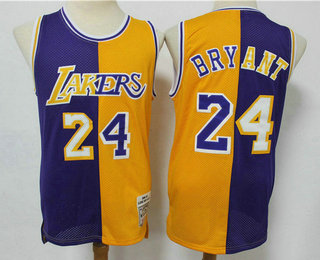 Men's Los Angeles Lakers #24 Kobe Bryant Purple Yellow Split Hardwood Classics Jersey