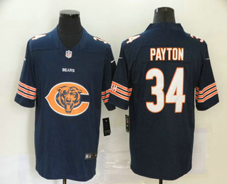 Men's Chicago Bears #34 Walter Payton Navy Blue 2020 Big Logo Vapor Untouchable Stitched NFL Nike Fashion Limited Jersey
