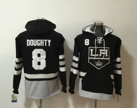 Men's Los Angeles Kings #8 Drew Doughty NEW Black Pocket Stitched NHL Old Time Hockey Hoodie