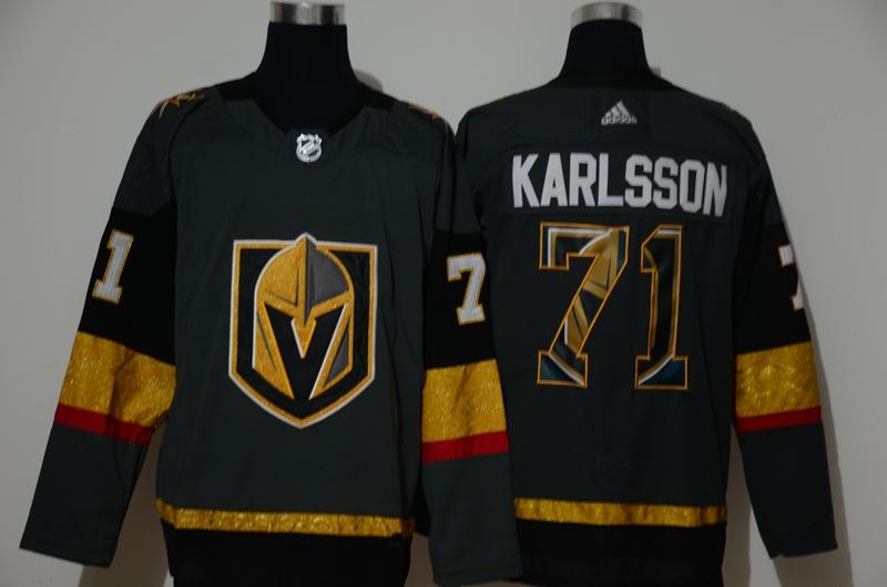 Men's Vegas Golden Knights #71 William Karlsson Gray With Team Logo Adidas Stitched NHL Jersey