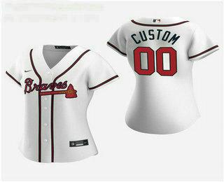 Women's Custom Atlanta Braves 2020 White Home Nike Jersey