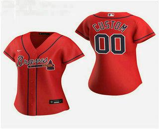 Women's Custom Atlanta Braves 2020 Red Alternate Nike Jersey