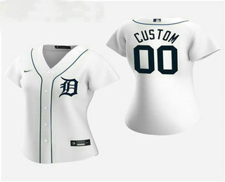 Women's Custom Detroit Tigers 2020 White Home Nike Jersey