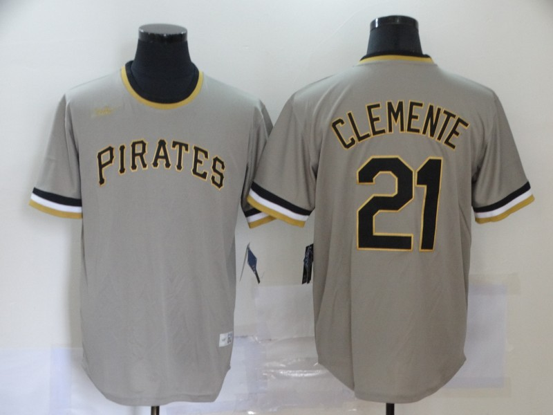Men's Pittsburgh Pirates #21 Roberto Clemente Grey Pullover Cooperstown Collection Stitched MLB Nike Jersey