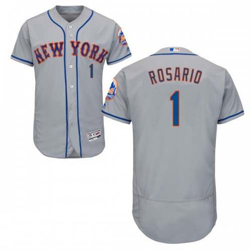 Men's New York Mets #1 Amed Rosario Authentic Majestic Flex Base Road Collection Gray Jersey