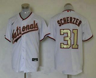 Men's Washington Nationals #31 Max Scherzer White Gold Stitched MLB Cool Base Nike Jersey