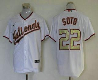 Men's Washington Nationals #22 Juan Soto White Gold Stitched MLB Cool Base Nike Jersey