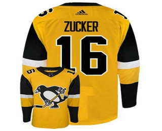 Men's Pittsburgh Penguins #16 Jason Zucker Yellow Adidas Stitched NHL Jersey