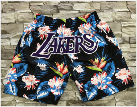 Men's Los Angeles Lakers Ness Floral Fashion Hardwood Classics Soul Swingman Throwback Shorts