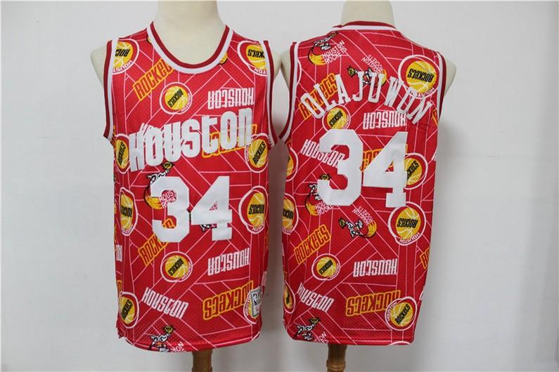Men's Houston Rockets #34 Hakeem Olajuwon Red Tear Up Pack Mitchell & Ness Swingman Jeresy