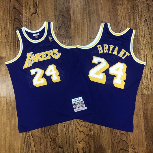 Men's Los Angeles Lakers #24 Kobe Bryant Purple Gold NBA 2007-08 Hardwood Classics Soul AU Throwback Jersey