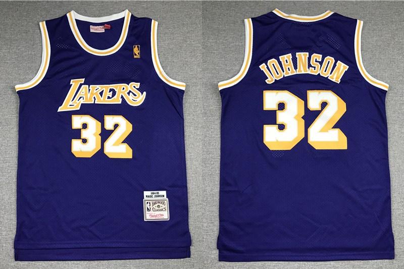 Men's Los Angeles Lakers #32 Magic Johnson Purple Gold NBA Hardwood Classics Soul Swingman Throwback Jersey