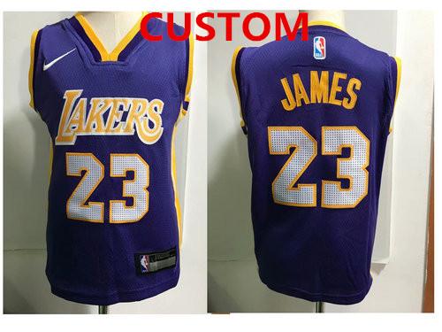 Custom Los Angeles Lakers  Purple Toddlers Jersey
