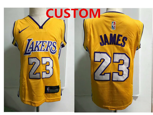 Custom Los Angeles Lakers Yellow Toddlers Jersey