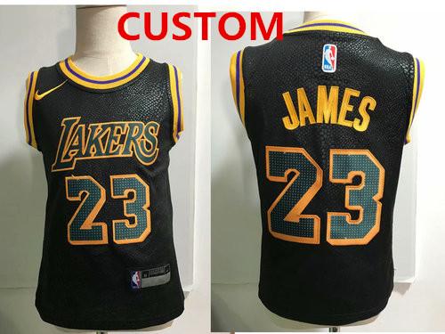 Custom Los Angeles Lakers Black Toddlers Jersey