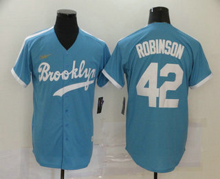 Men's Los Angeles Dodgers #42 Jackie Robinson Light Blue Stitched MLB Cool Base Cooperstown Collection Nike Jersey