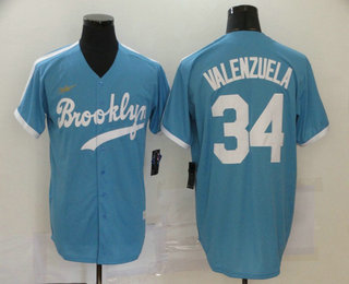 Men's Los Angeles Dodgers #34 Fernando Valenzuela Light Blue Stitched MLB Cool Base Cooperstown Collection Nike Jersey