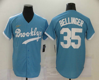 Men's Los Angeles Dodgers #35 Cody Bellinger Light Blue Stitched MLB Cool Base Cooperstown Collection Nike Jersey
