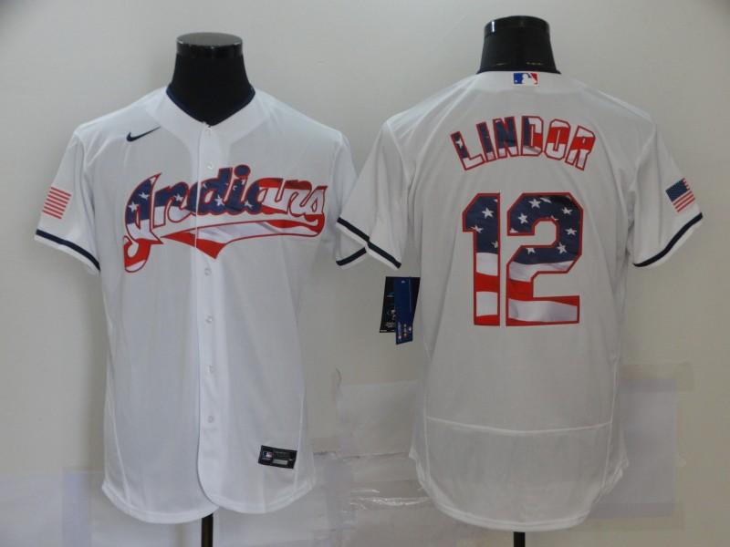 Men's Cleveland Indians #12 Francisco Lindor White USA Flag Stitched MLB Flex Base Nike Jersey