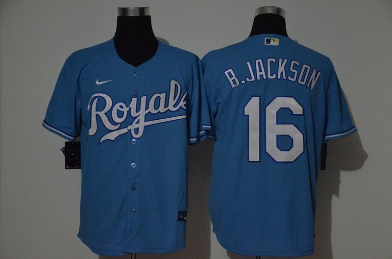Men's Kansas City Royals #16 Bo Jackson Blue Stitched MLB Cool Base Nike Jersey