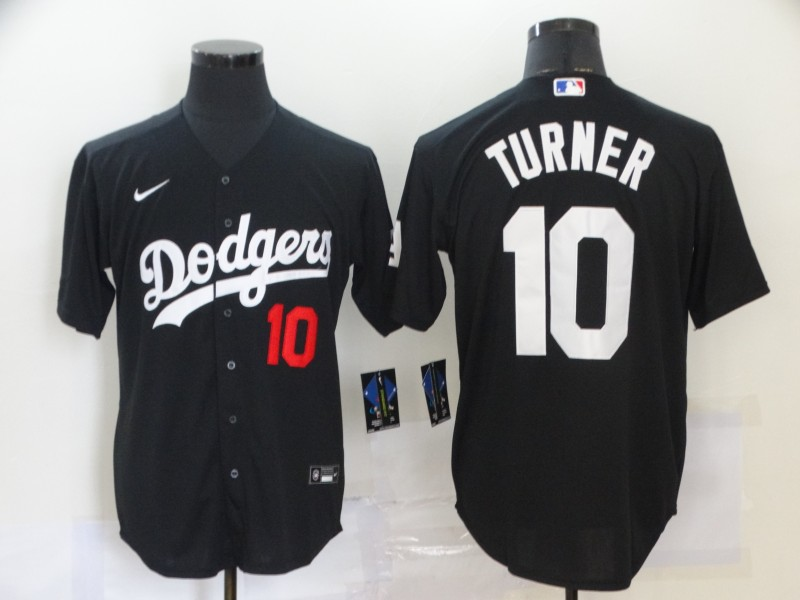 Men's Los Angeles Dodgers #10 Justin Turner Black Stitched MLB Cool Base Nike Jersey