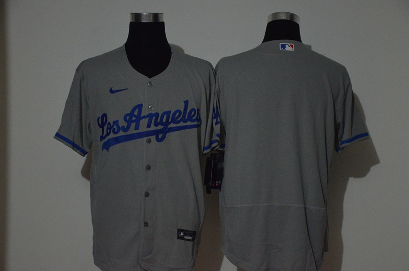 Men's Los Angeles Dodgers Blank Gray Stitched MLB Flex Base Nike Jersey