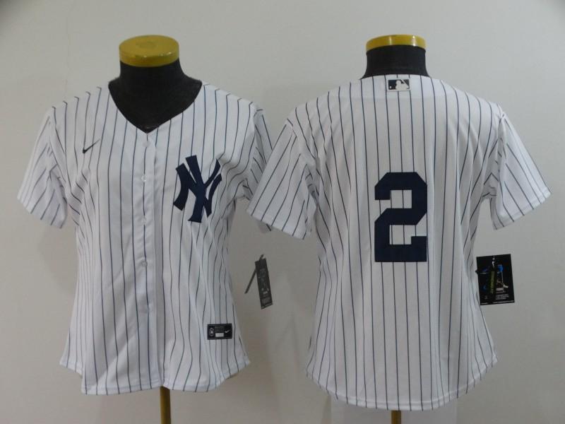 Women's New York Yankees #2 Derek Jeter White No Name Stitched MLB Cool Base Nike Jersey