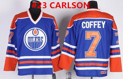 Men's Edmonton Oilers #23 CARLSON Royal Blue Throwback CCM Jersey