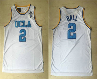 Men's UCLA Bruins #2 Lonzo Ball White College Basketball Swingman Stitched Jersey