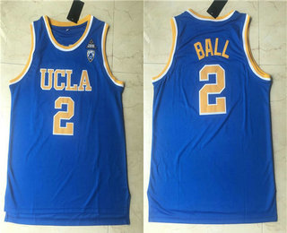 Men's UCLA Bruins #2 Lonzo Ball Blue College Basketball Swingman Stitched Jersey
