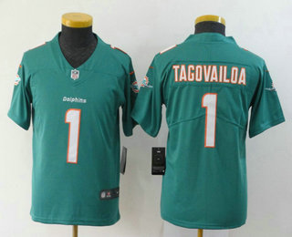 Youth Miami Dolphins #1 Tua Tagovailoa Green 2020 Vapor Untouchable Stitched NFL Nike Limited Jersey