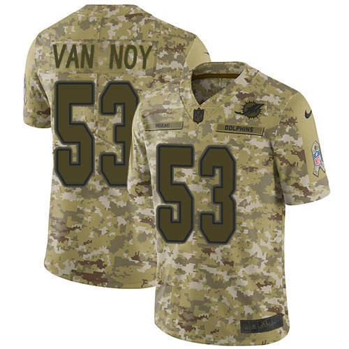 Men's Miami Dolphins #53 Kyle Van Noy Camo Stitched Limited 2018 Salute To Service Jersey