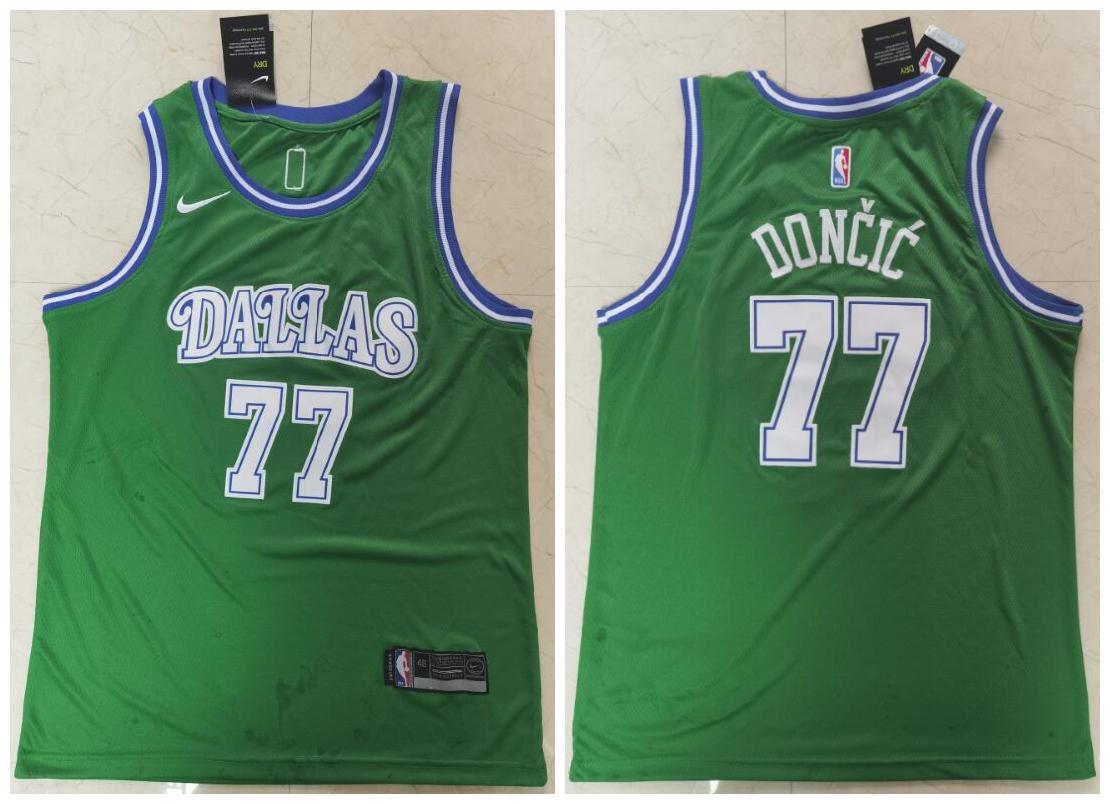 Men's Dallas Mavericks 77 Luka Doncic Green Nike Swingman Jersey