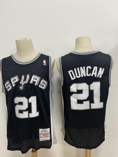 Men's San Antonio Spurs #21 Tim Duncan Black Hardwood Classics Soul Swingman Throwback Jersey