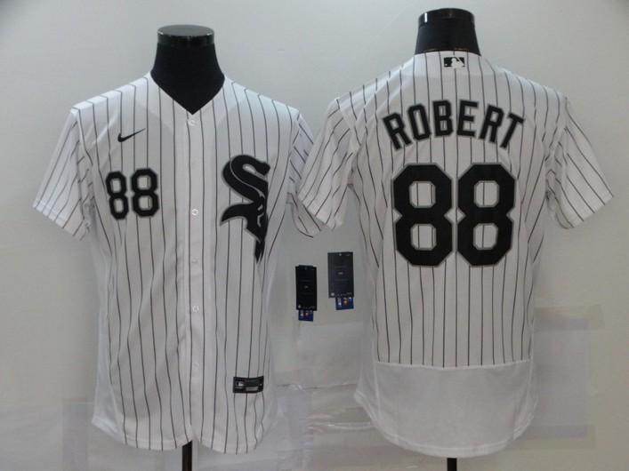 Men's Chicago White Sox #88 Luis Robert White Pinstripe Stitched MLB Flex Base Nike Jersey