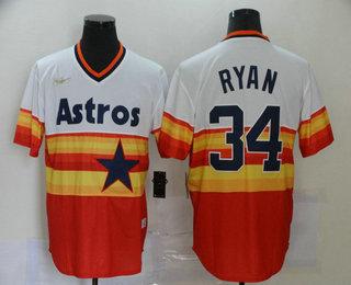 Men's Houston Astros #34 Nolan Ryan Orange Rainbow Cooperstown Stitched MLB Cool Base Nike Jersey