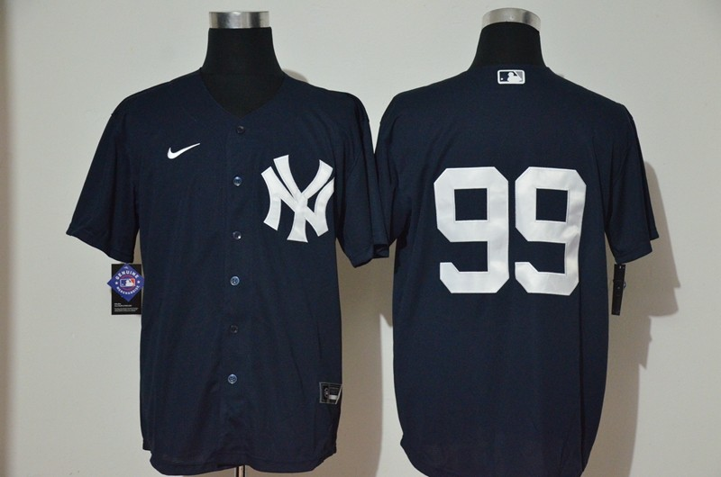 Men's New York Yankees #99 Aaron Judge No Name Navy Blue Stitched MLB Cool Base Nike Jersey