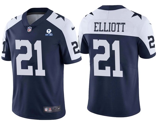 Men's Dallas Cowboys #21 Ezekiel Elliott Alternate 60th Anniversary Vapor Untouchable Stitched NFL Nike Limited Jersey