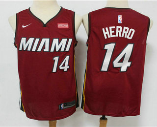 Men's Miami Heat #14 Tyler Herro Red 2019 Nike Swingman Stitched NBA Jersey With The Sponsor Logo