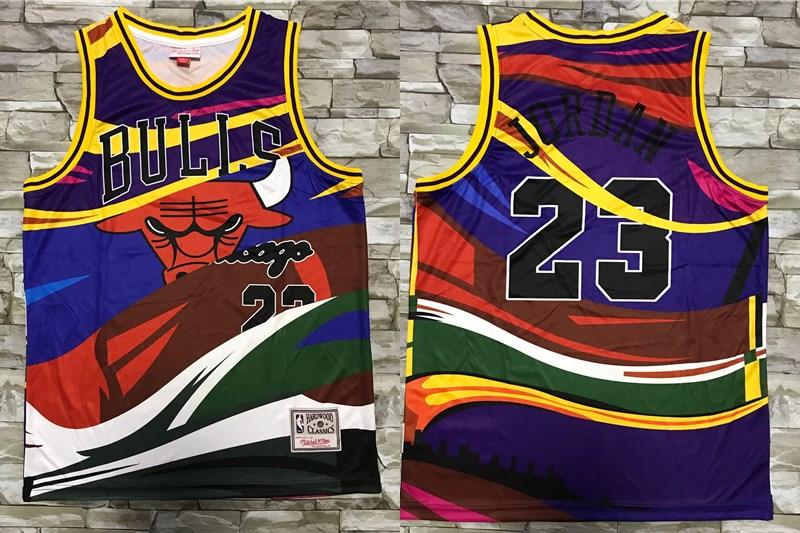 Men's Chicago Bulls #23 Michael Jordan Multi Color Hardwood Classics Soul Swingman Throwback Printed NBA Jersey