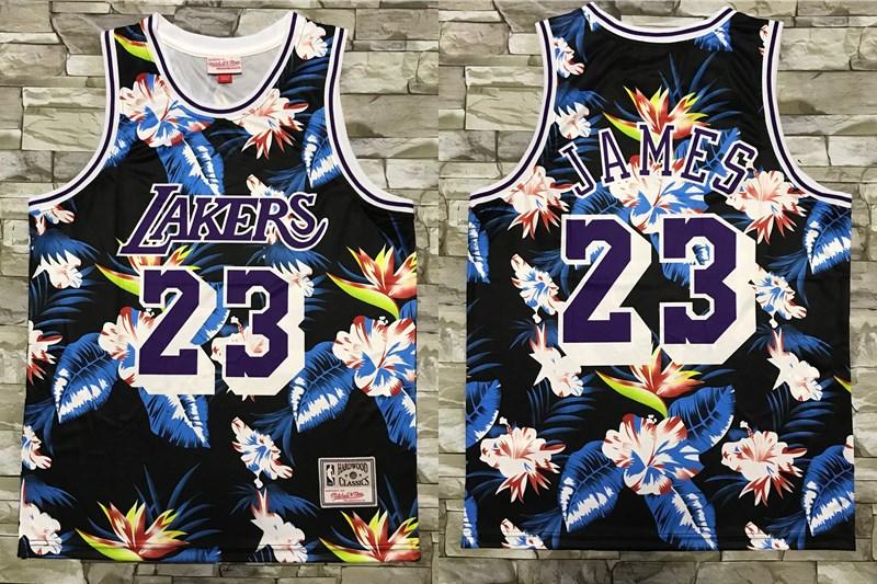 Men's Los Angeles Lakers #23 LeBron James Ness Floral Fashion Hardwood Classics Soul Swingman Throwback Shorts