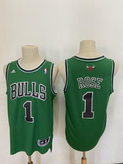 Men's Chicago Bulls #1 Derek Rose Revolution 30 Swingman Green Jersey