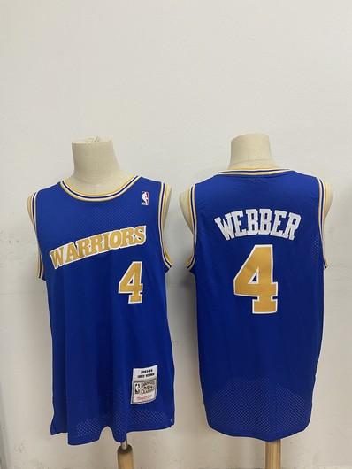 Men's Golden State Warriors #4 Chris Webber Blue 1990-94 Hardwood Classics Mesh Jersey