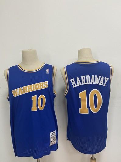 Men's Golden State Warriors #10 Tim Hardaway Blue 1990-92 Hardwood Classics Mesh Jersey