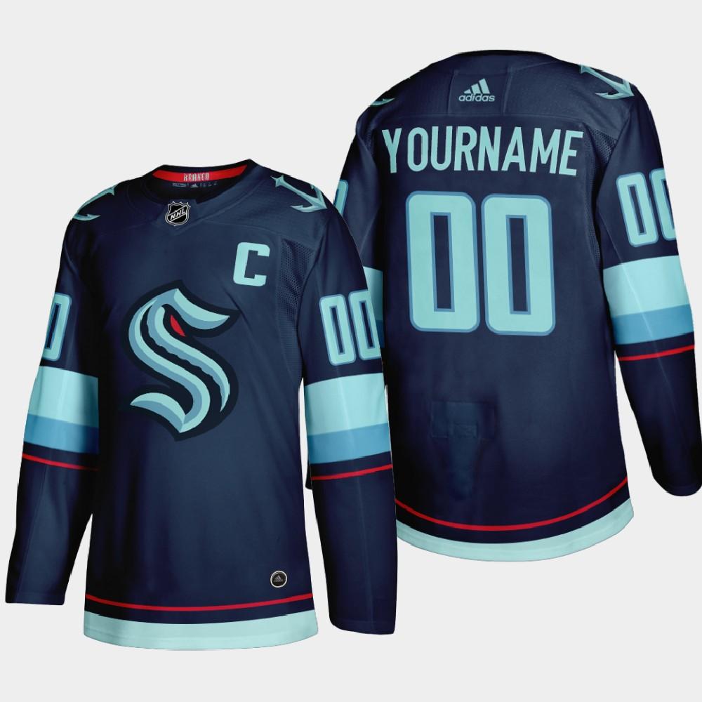 Seattle Kraken Custom Men's Adidas 2021-22 Navy Home Authentic Stitched NHL Jersey