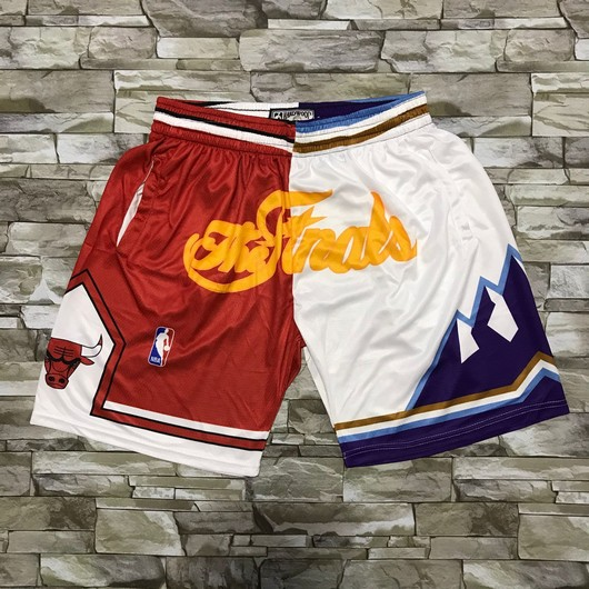 Men's Chicago Bulls and Utah Jazz Red With White 1997 The Finals Patch Split Hardwood Classics Soul Swingman Throwback Shorts