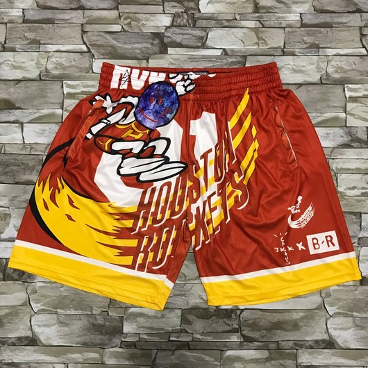 Travis Scott X Br X Mn Houston Rockets #01 Jack Red Basketball Swingman Throwback Shorts