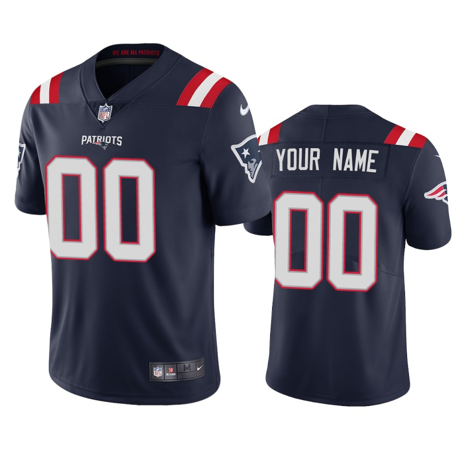 New England Patriots Custom Men's Nike Navy 2020 Vapor Limited Jersey